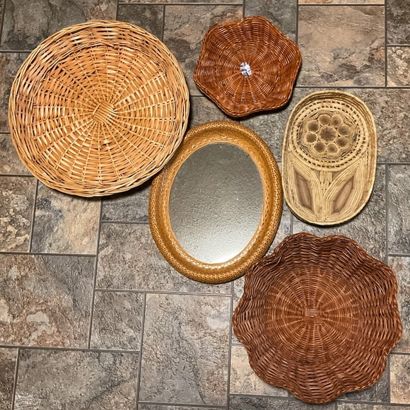 5pc Bohemian Mirror & Basket Grouping, All Vintage